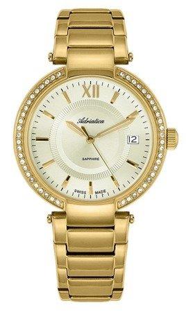 Zegarek Adriatica A3811.1161QZ Cyrkonie, Szafirowe Szkło